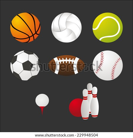 Sports balls and equipment icons set. Elements for web and apps design. EPS10 vector file organized in layers for easy editing. - stock vector