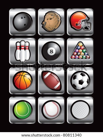 Sports balls and equipment on silver web buttons