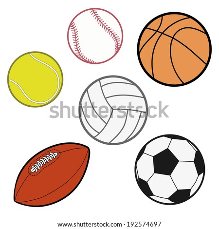 Sports Balls  (baseball, basketball, tennis ball, volleyball, rugby, soccer ball) Illustration Vector