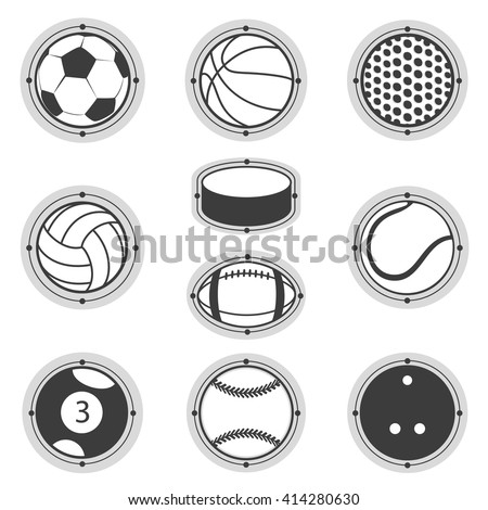 Sports Balls. Football, basketball, golf, volleyball, hockey, american football, tennis, billiard, baseball, bowling - stock vector