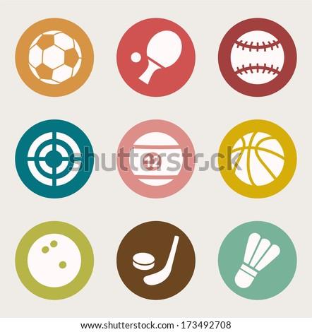 Sports Balls Icons set. Vector Illustration  - stock vector