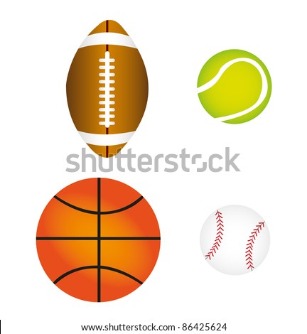 sports balls isolated over white background. vector - stock vector