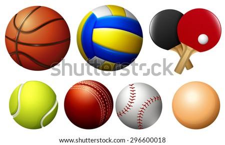 Sports balls on white illustration - stock vector