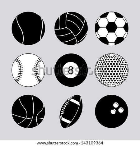 sports balls over gray background vector illustration