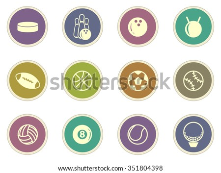 Sports Balls stickers label icon set