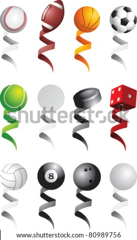 Sports balls with various colored ribbons - stock vector
