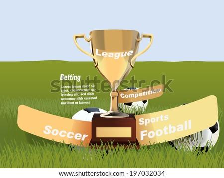 sports betting statistics, football betting leagues,  winner cup - stock vector