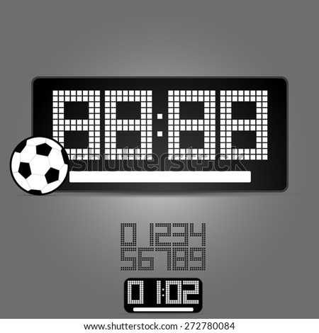sports board with a soccerball in the foreground and a set of figures - stock vector
