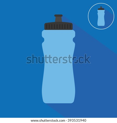 Sports bottle with water icon. Flat style - stock vector
