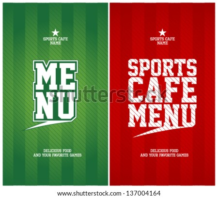 Sports Cafe Menu cards design template. - stock vector