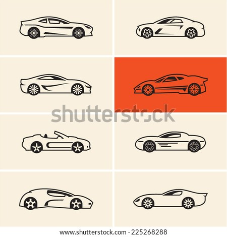 Sports car icons outline - stock vector