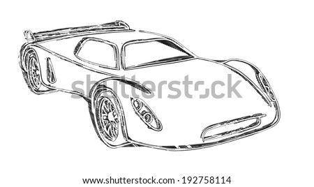 Sports car sketch.Own design. For 3d render see image id 140440432 - stock vector