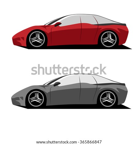 Sports car Vehicle Vector Illustration
