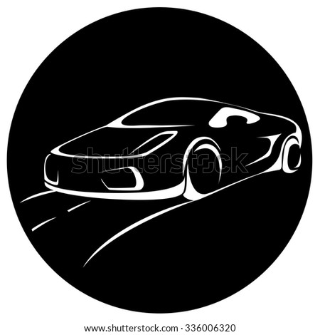 Sports car Vehicle Vector Silhouette. Logo element isolated on white background.