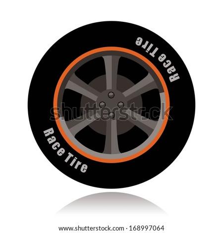 sports car wheel, race tire  - stock vector