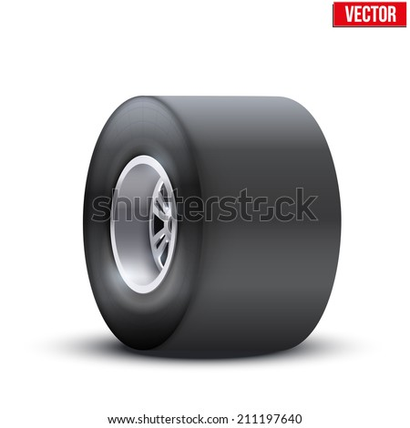 sports car wide wheel. Vector illustration isolated on white background - stock vector