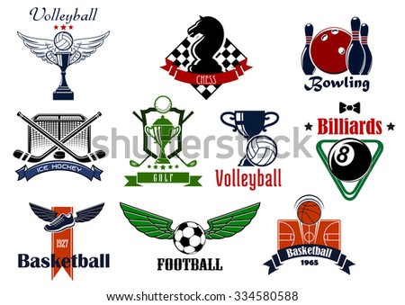 Sports club or team emblems and icons for football, soccer, basketball, ice hockey, bowling, billiards, golf, chess and volleyball game with items - stock vector
