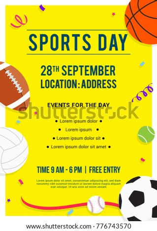 Sports Day Poster Invitation Vector Illustration Stock Vector ...