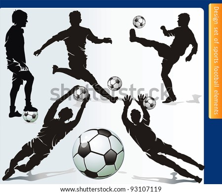 Sports design elements for Web. Soccer player and ball vector. - stock vector