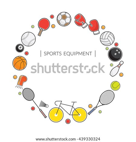 Sports Equipment, Line Icons Frame, Objects, Recreation and Leisure - stock vector