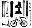 sports Equipment silhouette vector illustration - stock photo