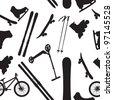 sports Equipment silhouette vector illustration seamless pattern - stock vector