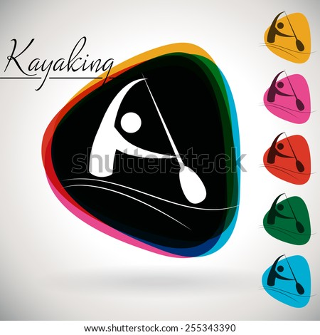 Sports Event icon/symbol - Canoeing and Kayaking. 1 Multicolor and 5 monotone options. - stock vector