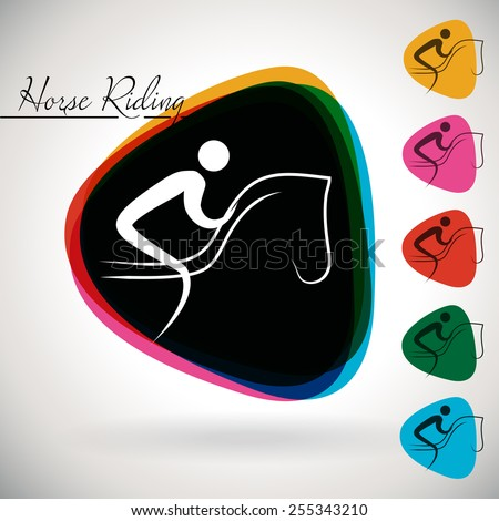 Sports Event icon/symbol - Horse Riding. 1 Multicolor and 5 monotone options. - stock vector