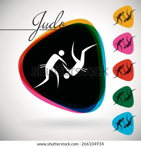 Sports Event icon/symbol - Judo. 1 Multicolor and 5 monotone options. - stock vector