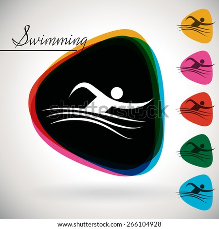 Sports Event icon/symbol - swimming . 1 Multicolor and 5 monotone options. - stock vector