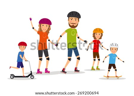 Sports family. Mom, dad and kids roller skate. Lifestyle healthy, vector illustration - stock vector