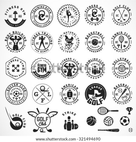 Sports, Fitness, Body Building, Golf, Football, Tennis, Bowling, Baseball, Volleyball and Basketball  Badges and Labels in Vintage Style - stock vector