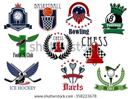 Sports game heraldic emblems with elements and sports items of football, soccer, basketball, ice hockey, billiards, darts, golf, chess, volleyball and bowling - stock vector