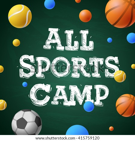 Sports games camp, themed camp poster, vector illustration.  - stock vector