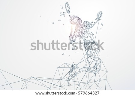 Sports Graphics particles, Network connection turned into, vector illustration.