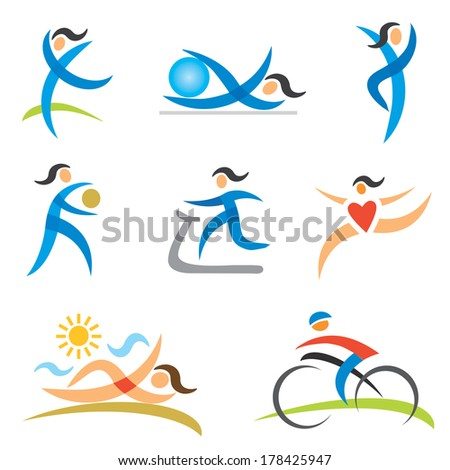 Sports healthy woman icons Icons with a woman in sport and healthy lifestyle activities.Vector illustration.