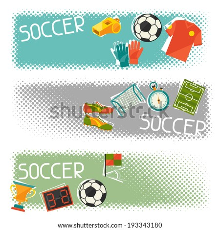 Sports horizontal banners with soccer (football) flat icons. - stock vector