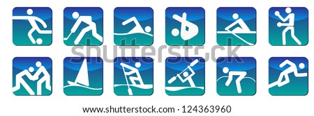 Sports icons blue - stock vector