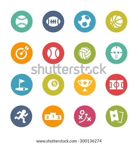 Sports Icons, Circle Series - stock vector