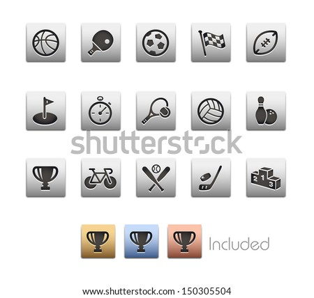 Sports Icons // Metallic Series - It includes 4 color versions for each icon in different layers.  - stock vector