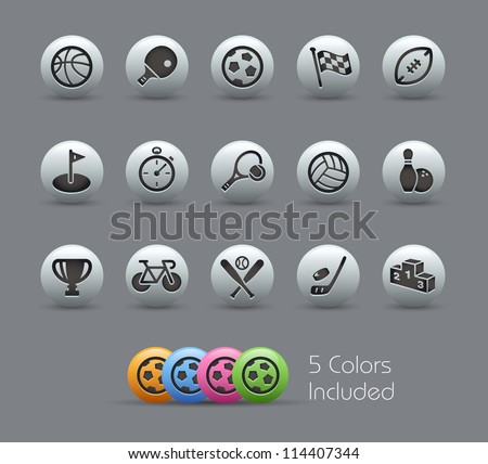 Sports Icons // Pearly Series -------It includes 5 color versions for each icon in different layers --------- - stock vector