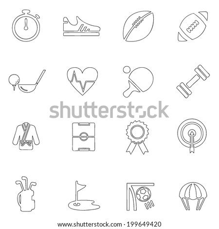 Sports icons thin line drawing by hand Set 2 - stock vector