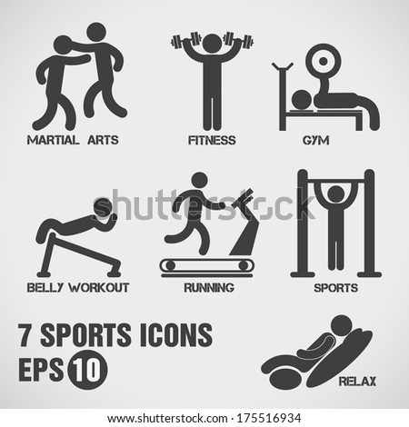 Sports icons, vector.