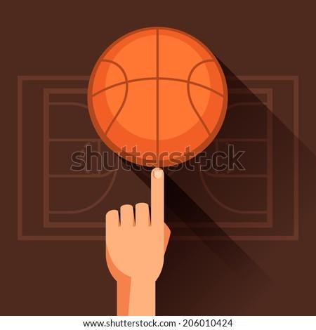 Sports illustration of hand spinning basketball ball. - stock vector