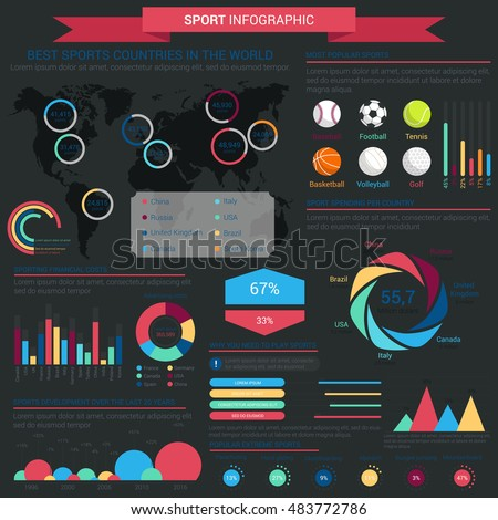 Sports infographic infochart template linear conus stock vector sports infographic or infochart template with linear and conus circle charts and world map gumiabroncs Images
