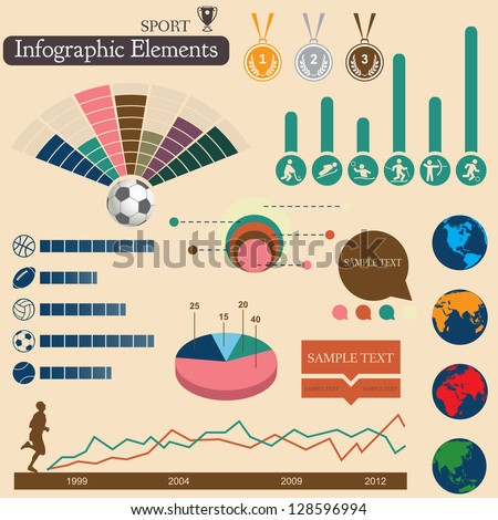 Sports infographics set. Vector elements for you design - stock vector