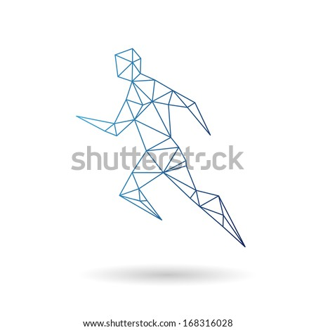 Sports man running abstract isolated on a white backgrounds - stock vector