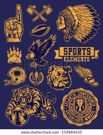 Sports Mascots and Elements Vector Set - stock vector