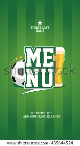 Sports menu card design mock up with football ball and beer - stock vector