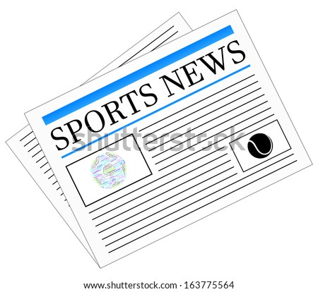 Sports News Newspaper Headline Front Page Vector - stock vector